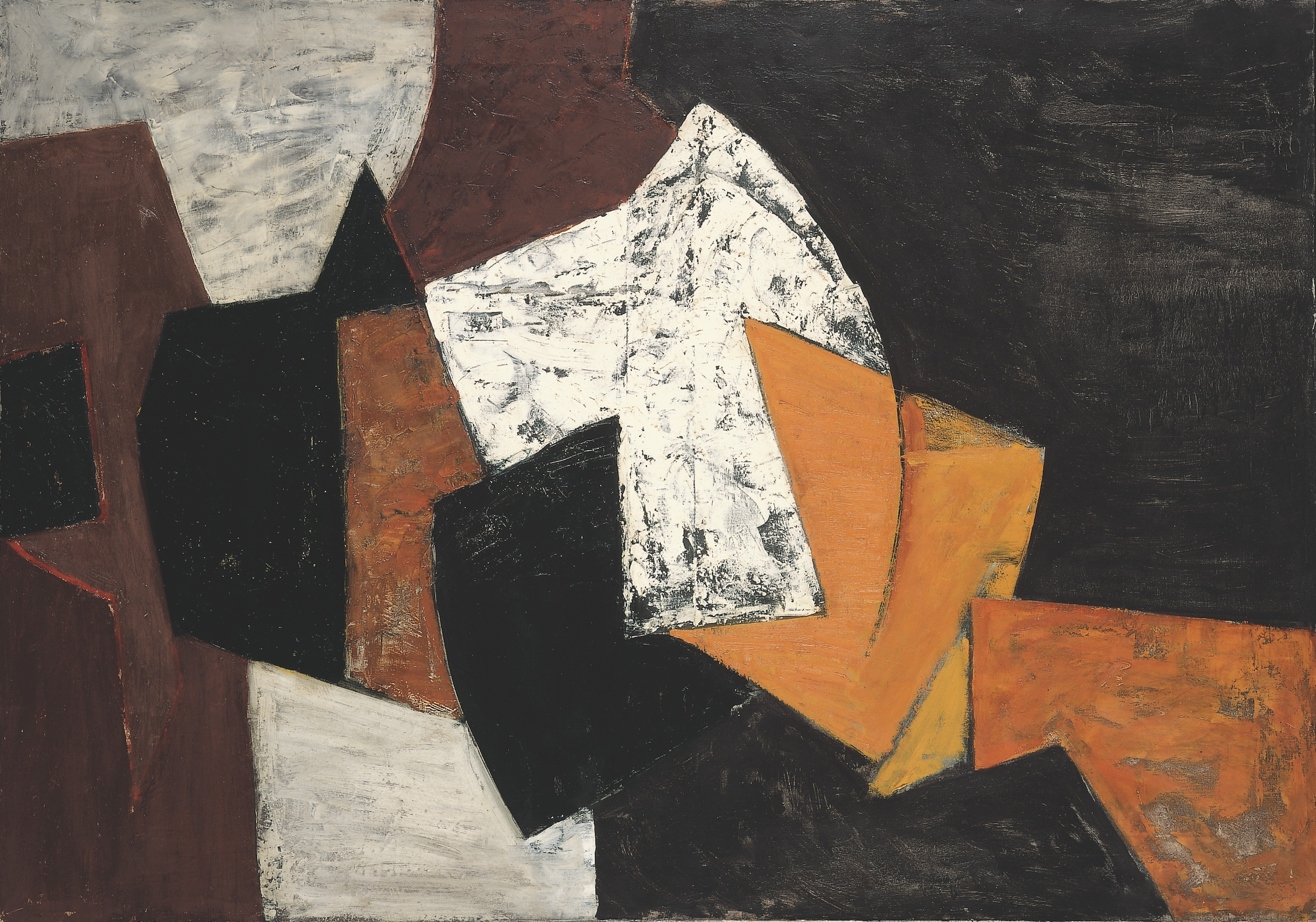 Adrian Heath 1920 - 1992  Composition: Black, Brown, Orange and White, 1955  Oil on canvas 32 x 46 in / 81.3 x 116.5 cm