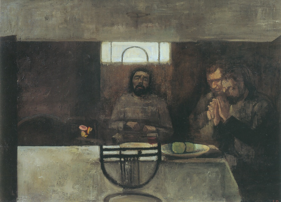 Victor Pasmore 1908 - 1998  Supper at Emmaeus, 1942 - 46  Oil on canvas  32 x 44 in / 81.9 x 111.1 cm