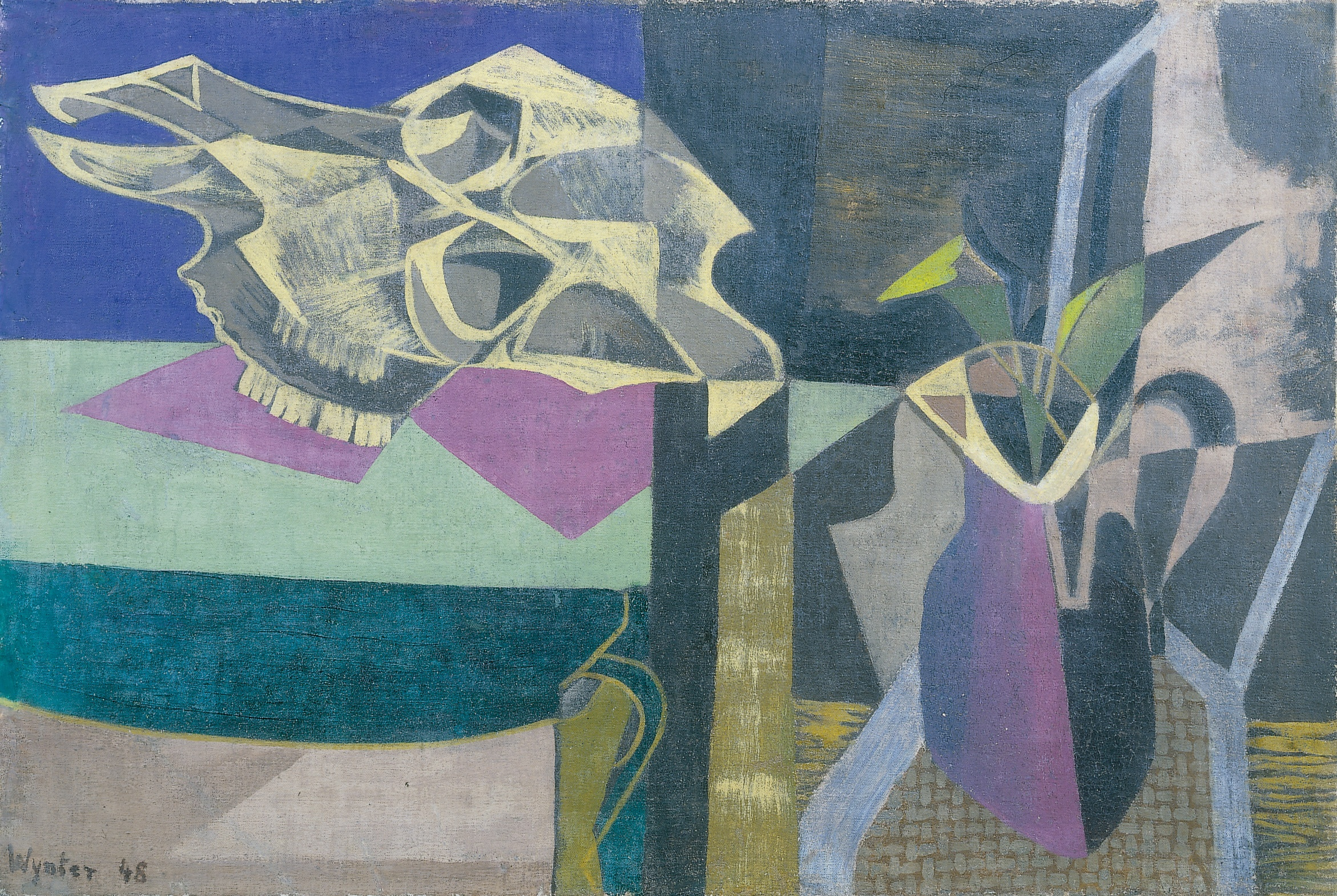 Bryan Wynter  Still Life with Ox Skull, 1948  signed & dated lower left  oil on canvas  19.75 x 29.75 in/ 51 x 75.5 cm